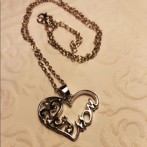 New silver MOM heart necklace adjustable 24""